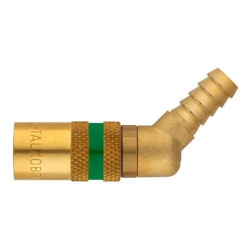Temperierkupplung mit Tülle und automatischen Verschluß - gewinkelt 45° - Safe Lock TV9513/45 OV-SL